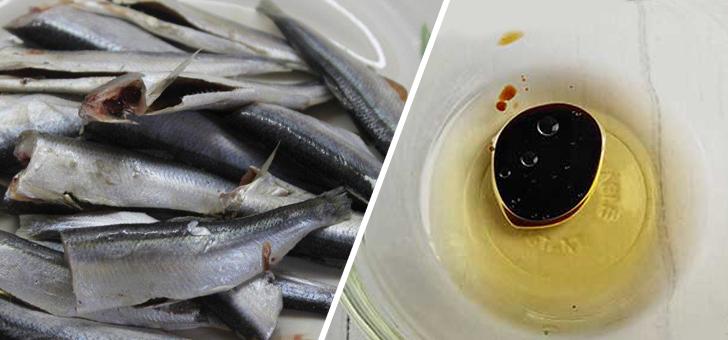 Тушки салаки и масло