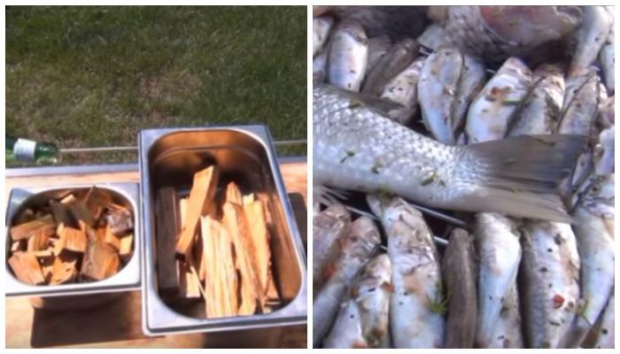 Замачивание щепы и просушка рыбы
