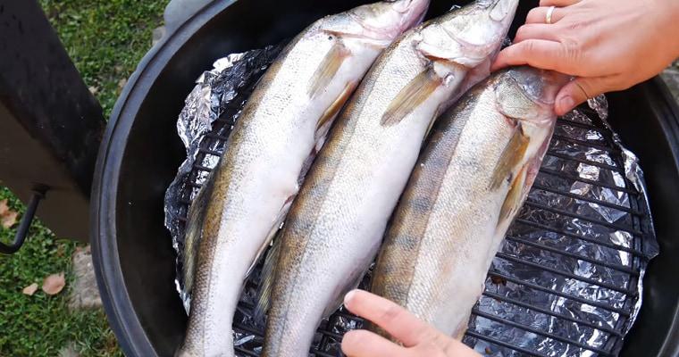 Рыба на решетке казана