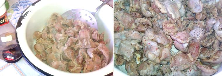 Маринование куриных желудков