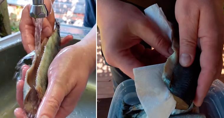 Промывание и сушка рыбы
