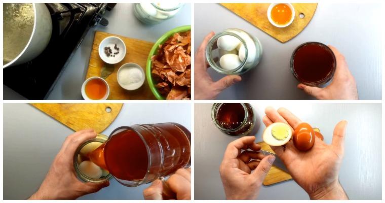 Копчение яиц с жидким дымом и луковой шелухой