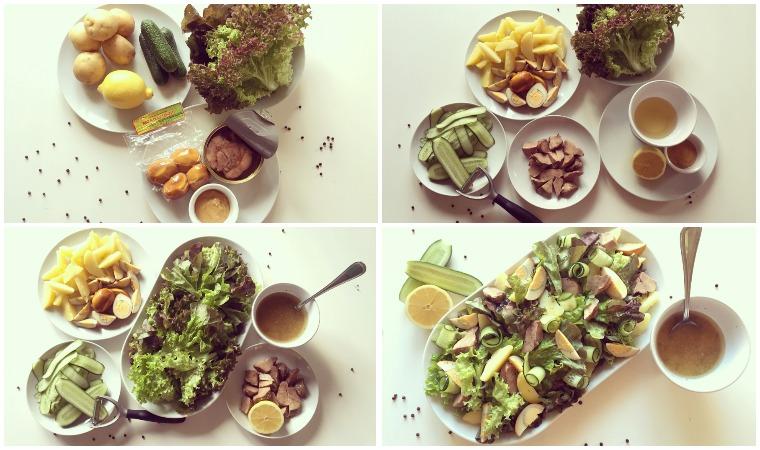 Салат с копчеными яйцами и с семгой