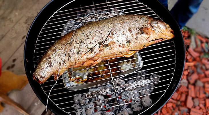 Копченая на гриле тушка лосося