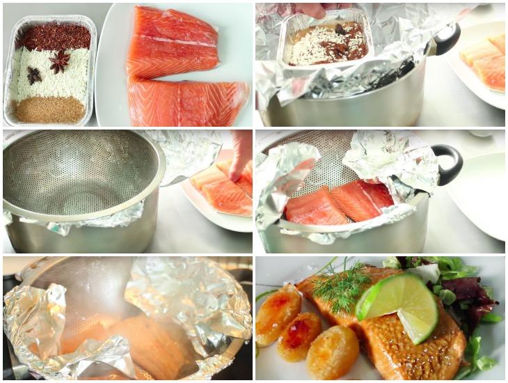 Копченые лосося в кастрюле с чаем
