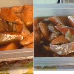 Маринование ломтиков лосося
