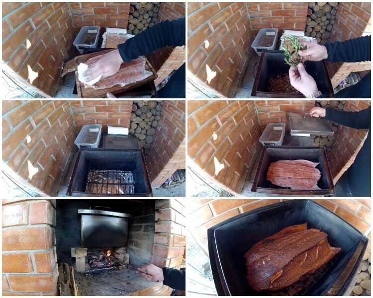 Процесс горячего копчения лосося
