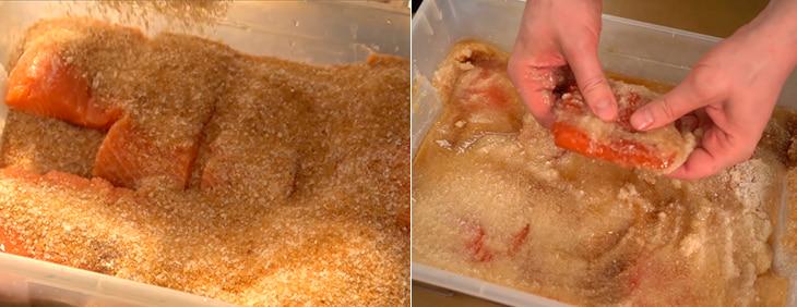 Засолка лосося сахаром и солью