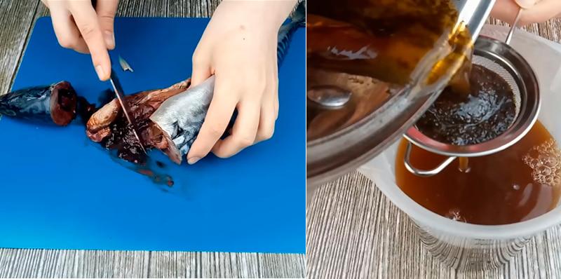 Чистка рыбы и процеживание маринада