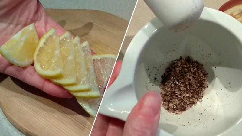 Нарезанные лимоны и специи в ступке