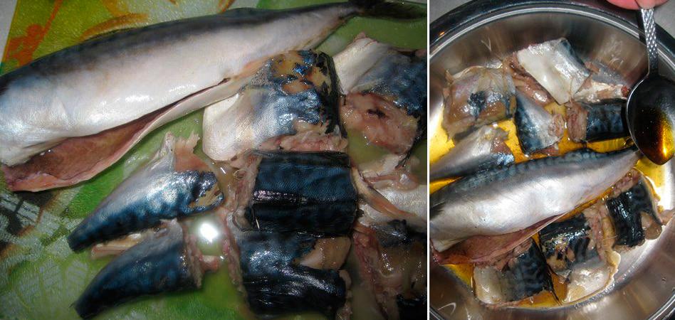 Приготовление скумбрии в сковороде с жидким дымом