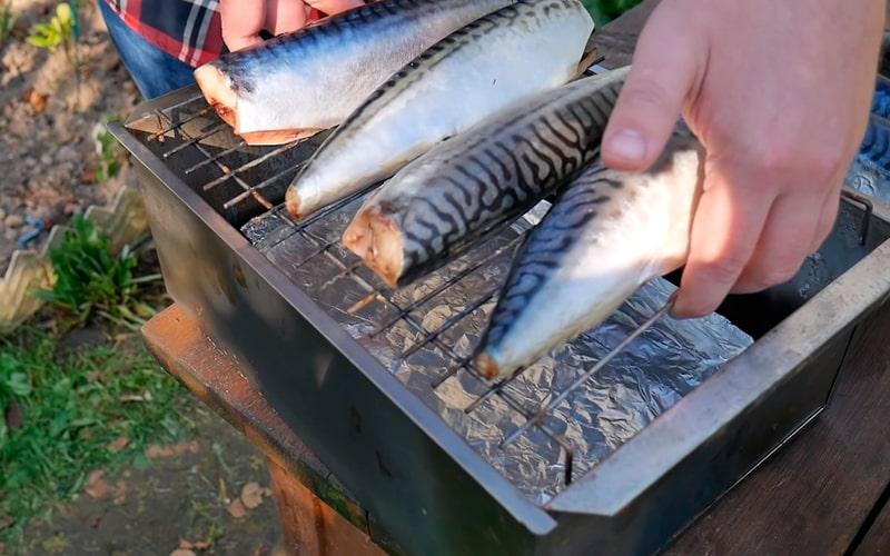 Установка решетки с рыбой в коптильню