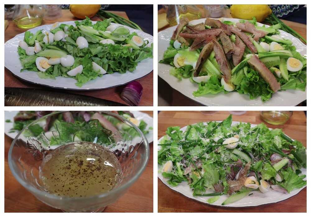 Приготовление салата со средиземноморской заправкой