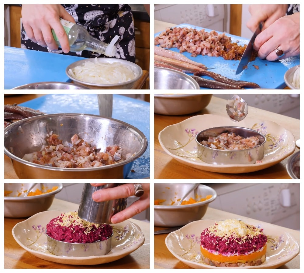 Приготовление «Селедки «под шубой»