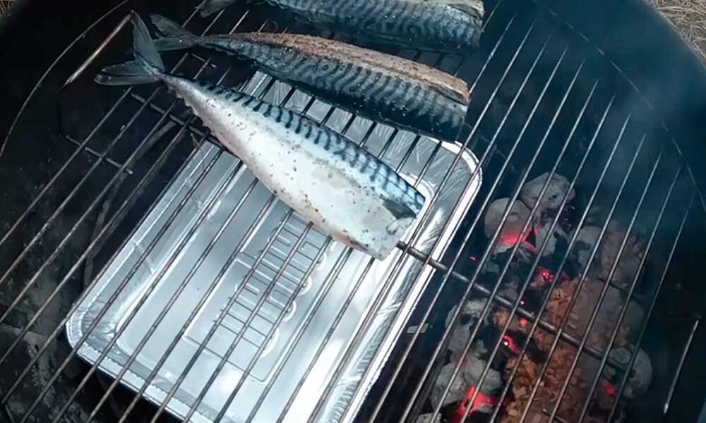 Устанавливают поддон для сбора жира и выкладывают рыбу