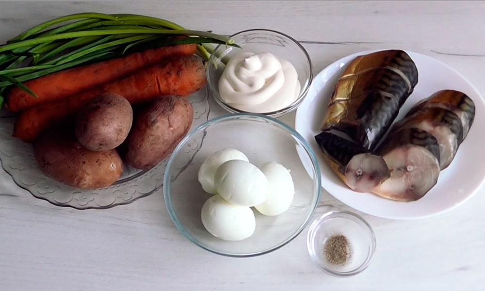 Ингредиенты для салата «Лисья шубка»