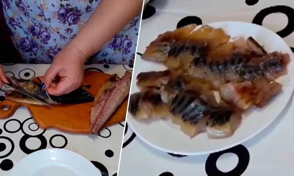 Рыбу очищают и нарезают кубиками