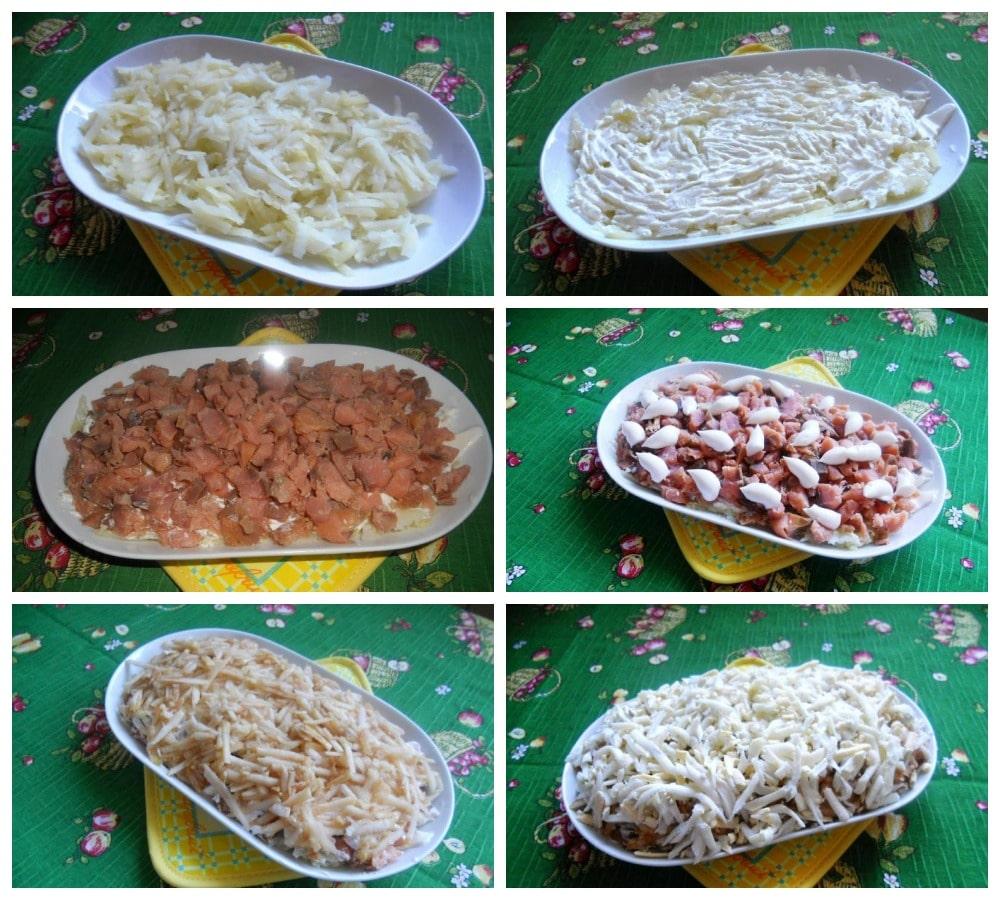 Пошаговое приготовление салата с яблоками