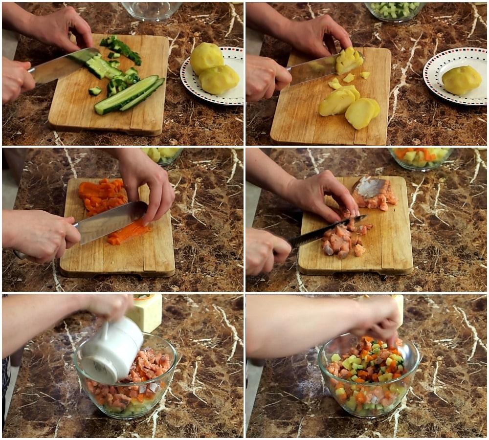 Пошаговое приготовление салата «Прибрежный»